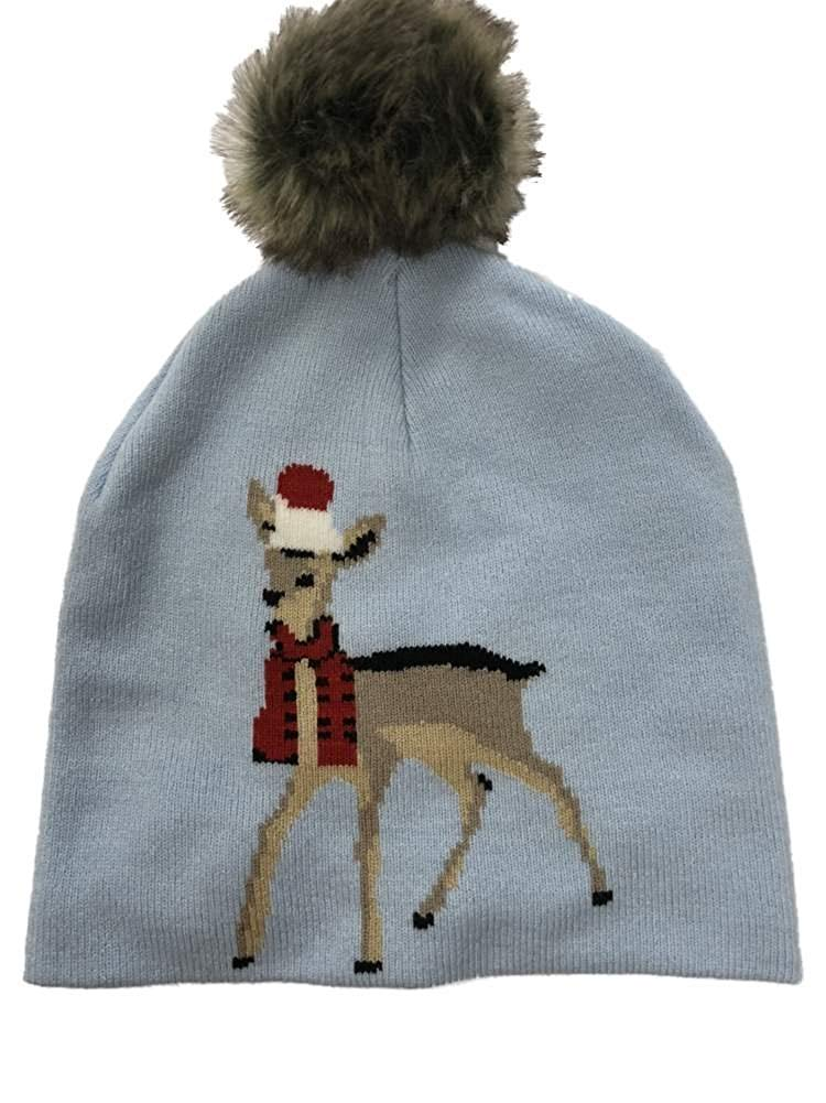 6cf520df68a064 Get Quotations · Womens Blue Pom Reindeer Beanie Hat Knit Christmas Holiday  Stocking Cap