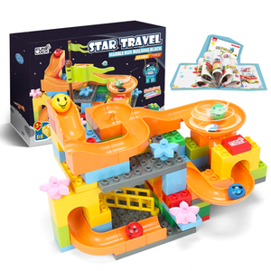 Funlock Duplo Marble Run Assemble Plastic Slide Building Blocks Parts Toys for Children 71PCS
