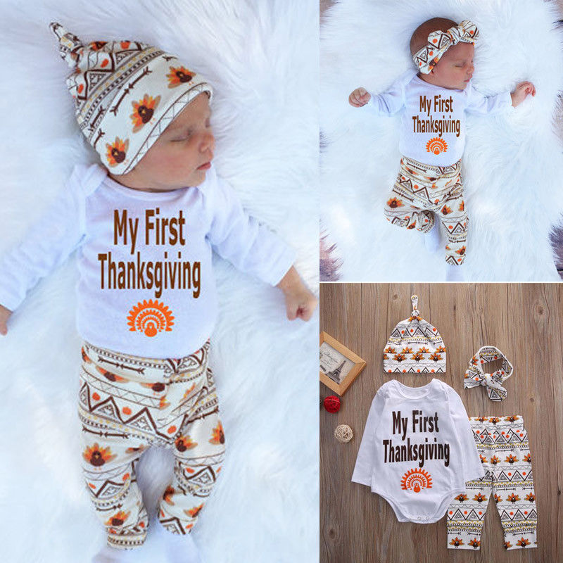 241914aac Newborn Baby Boys Girls Thanksgiving Romper Tops +Long Pants Hat Handband  4PCS Outfits Set Kids Clothing Set Winter