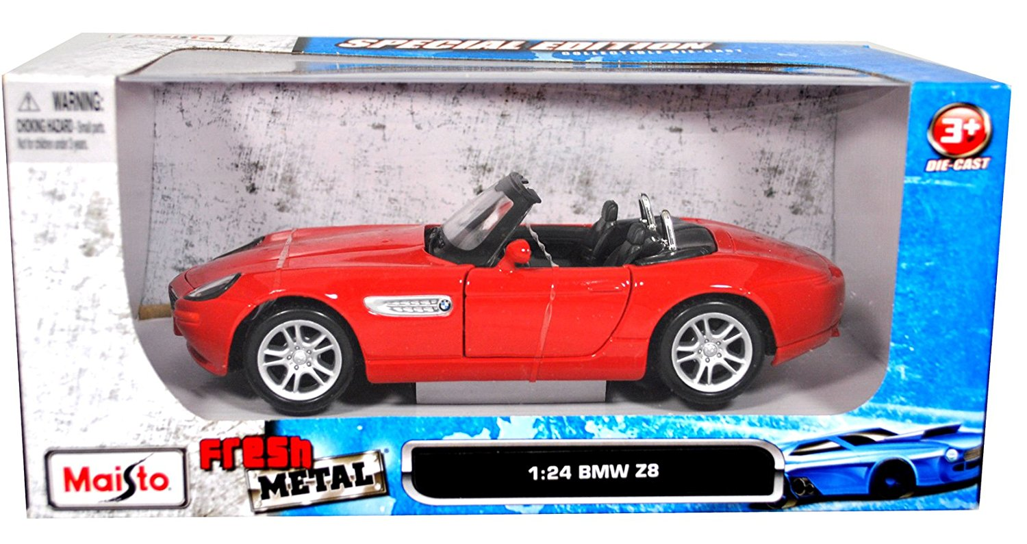 "Maisto Fresh Metal Series Special Edition Collectible 1:24 Scale Die Cast Metal Car - Red Roadster BMW Z8 with Opening Door and Detailed Chassis (Dimension: 6-1/2"" x 2-1/2"" x 2-1/2"")"