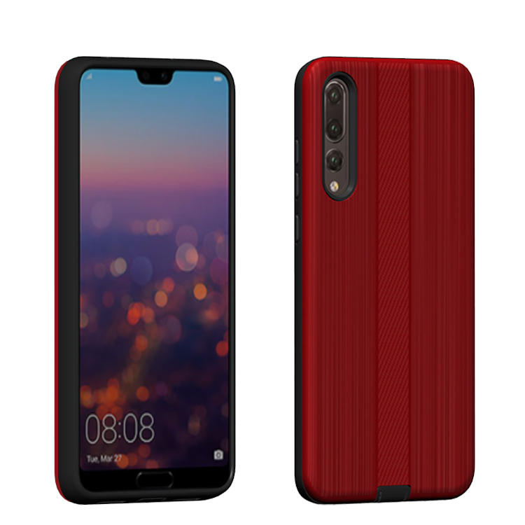 Rugged hybrid mobile phone case <strong>cover</strong> for huawei p20 pro shockproof carbon fiber brush armor case