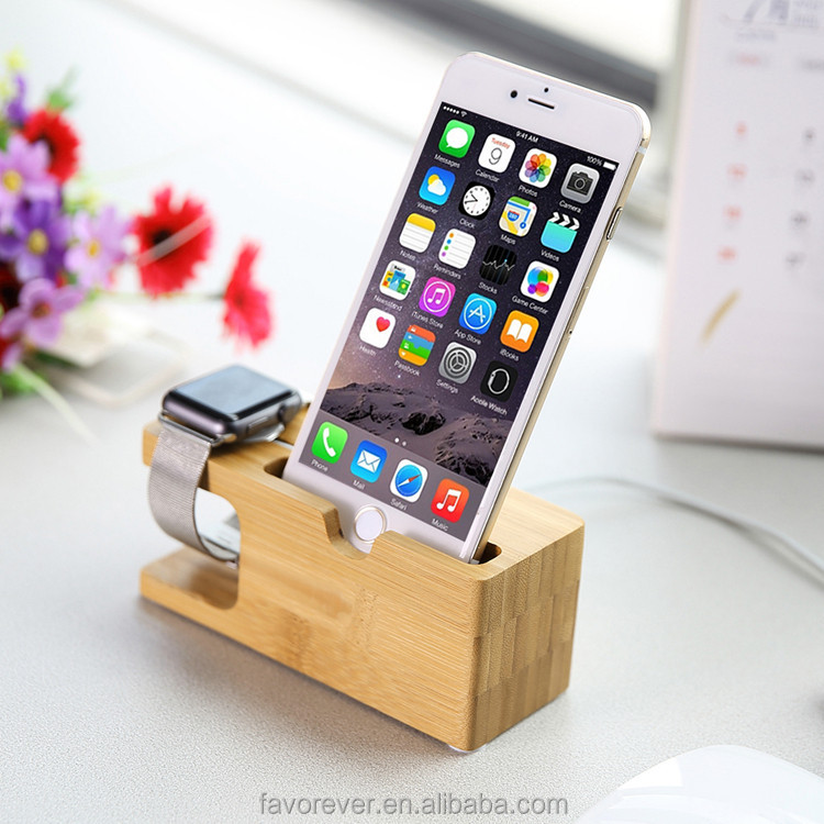 2016 innovative wood phone stand watch charging stand two be one