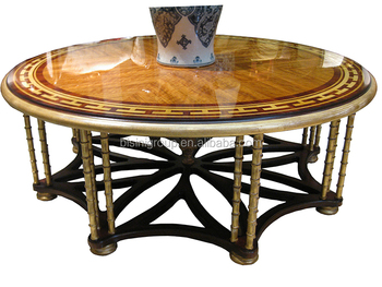 Luxury Elegant French Flower Coffee Table, Full Handmade French Furniture  With Marquetry Veneer Inlay BF11