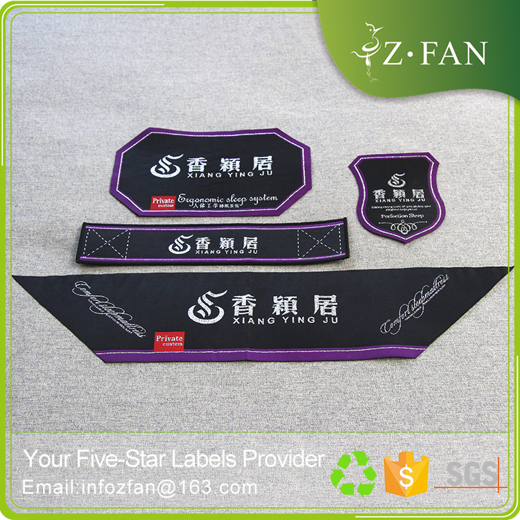 Permanent textile Price tag Printed woven label Fold the mattress woven label
