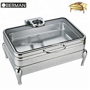 Catering equipment hot sale high quality luxury electric 1/1 gn pans silver plated chafing dish food warmers for restaurants