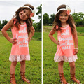 Olike Baby Girl Dress Casual Cotton Soft Toddler Girl Dress Princess Orange lace stitching dress for