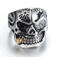 Hot Selling Skull Ring High Quality Stainless Steel Jewelry Smoking Skull Ring With Plated Gold Bullet--DM 003