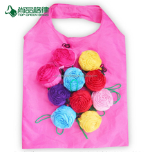 Reusable reinforced handle grocery large customize rose shape promotional folding shopping tote bag