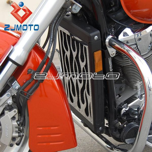 For Boulevard M109R All Years 2006-2011 07 200 Motorcycle Polished Stainless Flames Radiator Grille Guard Cover Protector ZJMOTO