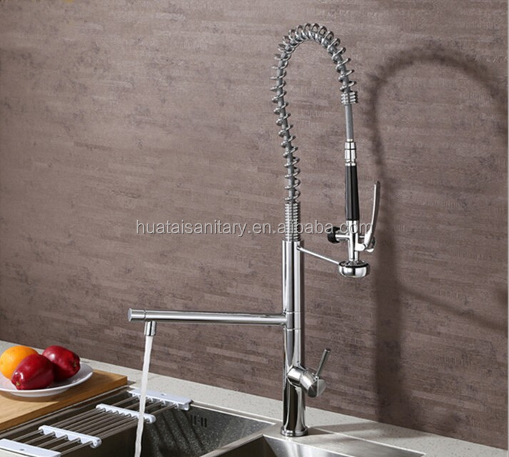 deck mount High-arch spring spout swivels pull down pre rinse faucet