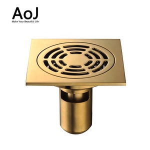 Traditional gold brass bathroom tall floor sink drain shower drainer