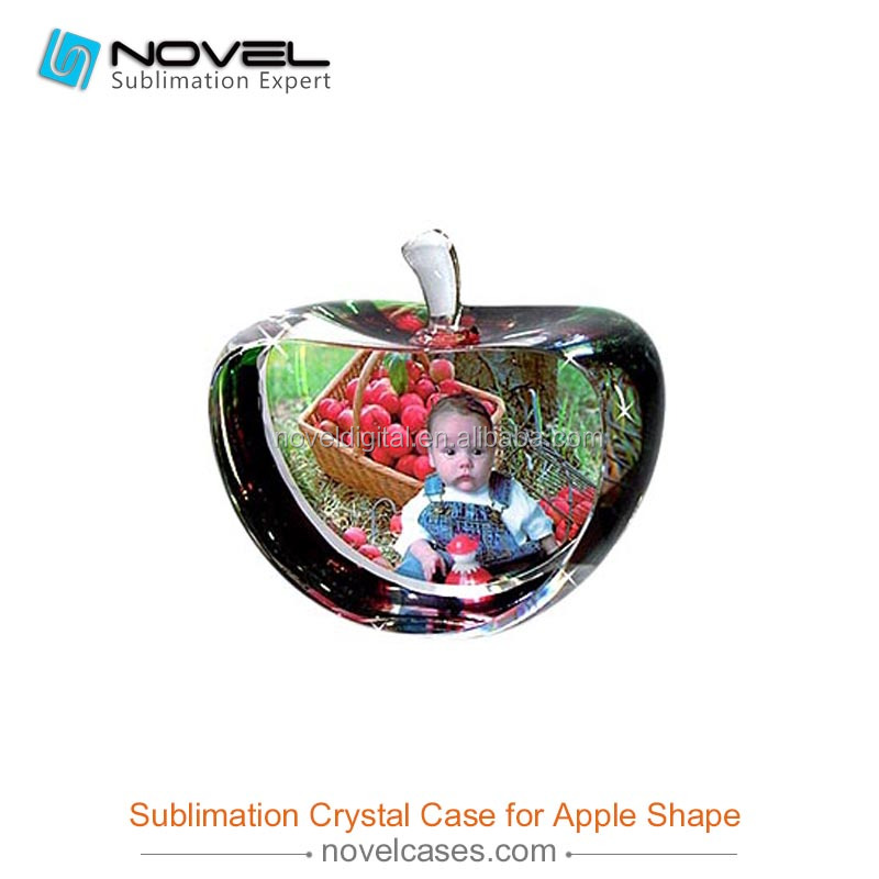 Popular Sublimation Crystal digital photo frame,Blank Apple Shaped Photo Crystals