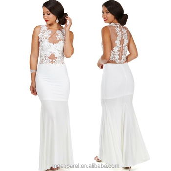 Latest Fashion Long Tight Prom Dresses White Floral Lace Evening ...
