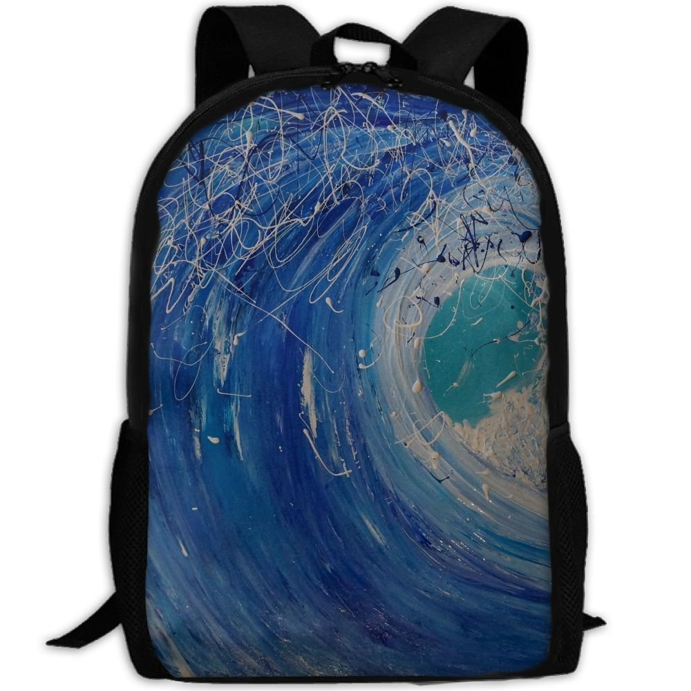 Abstract Blue Blue Abstract Design Unique Custom Outdoor Shoulders Bag Fabric Backpack Multipurpose Daypacks For Adult