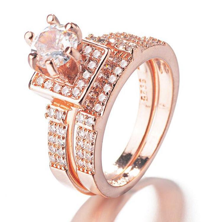 Vendita calda Classic Geometrica Donne Cuori E Frecce Completa Anelli di Fidanzamento Con Diamante