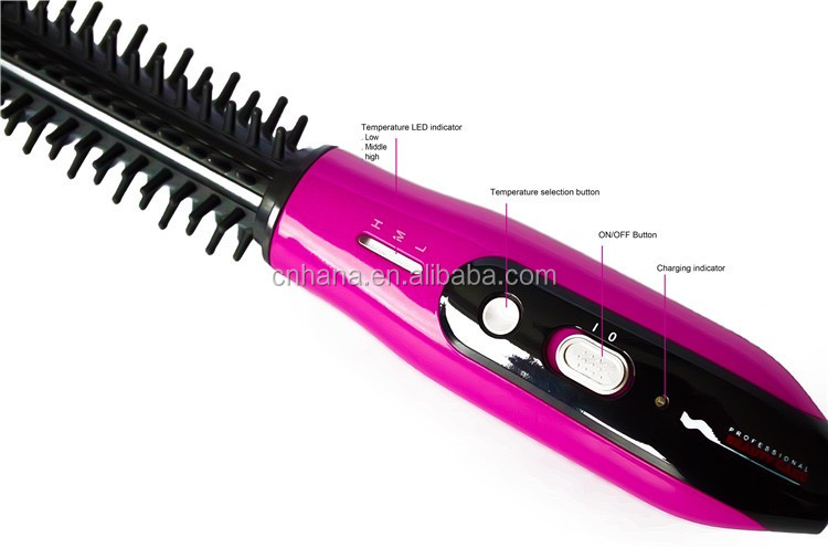 HS744 Customized Travel using Rechargeable cordless curling comb and Hair Straightener