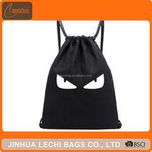 2016 Hot Sales Customized Logo Black canvas cotton drawstring bag backpack