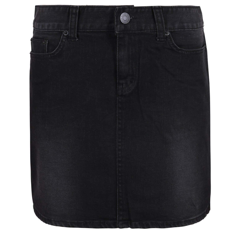 ililily Vintage Washed Cotton Stretch Classic Fit Black Denim Skirt