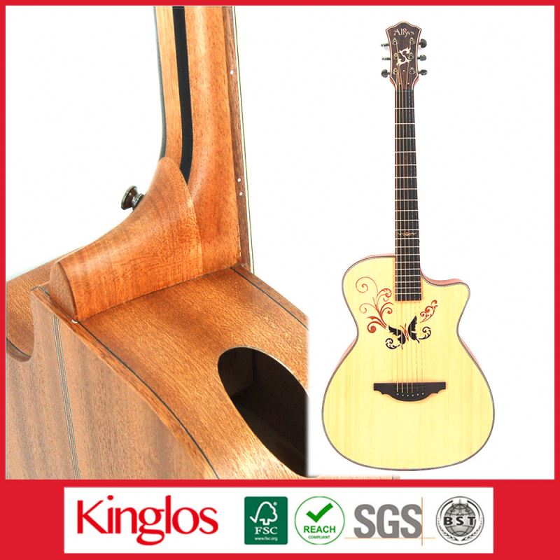 Wholesale Artistic Carving Colour Solid Wood Acoustic Guitar Made By Chinese Guitar luthier,for Guitar enthusiast (S41U-008-029)