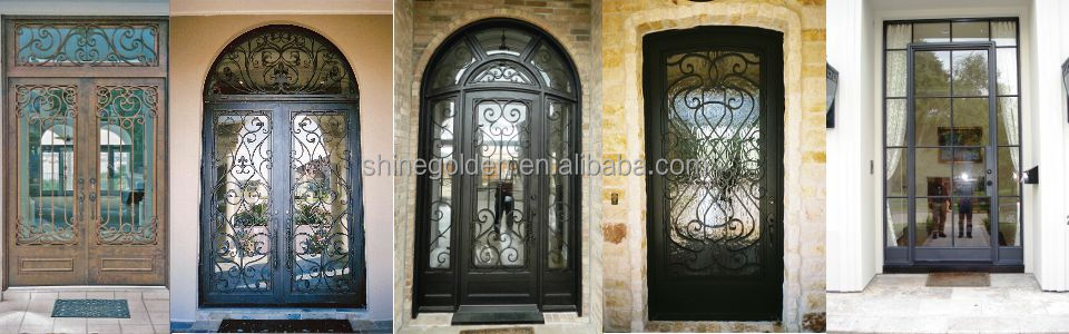 Gyd 15d0263 Modern Cast Iron Decorative Exterior Metal French Doors