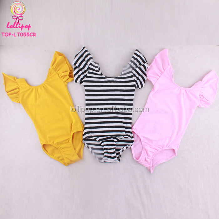 Training Dancewear Short Kids Futter Sleeves Ruffle Girls Ballet Leotards Cotton Spandex Children Artistic Gymnastics Leotard