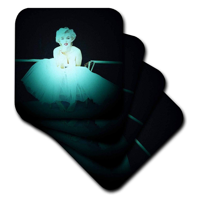 3dRose RinaPiro - Marilyn Monroe - Marilyn Monroe. Legendary screen actress and model. Black turquoise. - set of 8 Coasters - Soft (cst_261332_2)