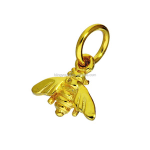 Custom Gold Color 925 Real Sterling Silver Bumble Bee Charm