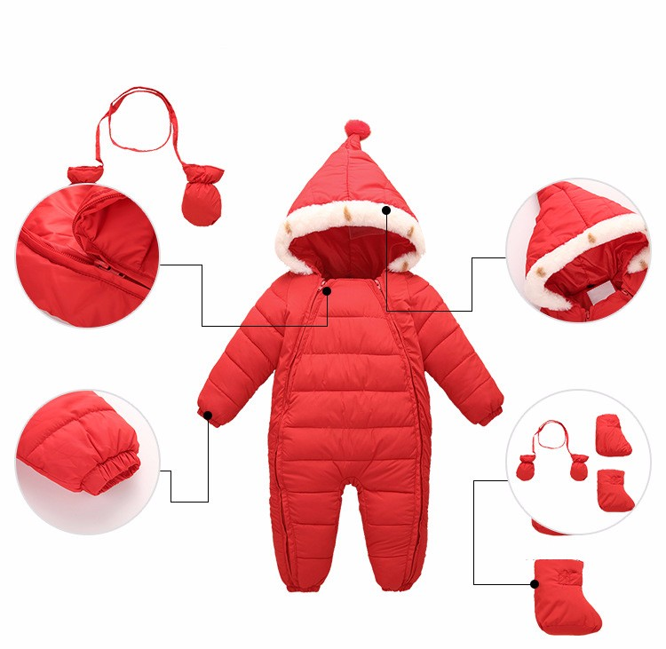 5df5770b09a9 0-24M Baby Coverall Clothing Warm Fall Winter Clothes Newborn ...