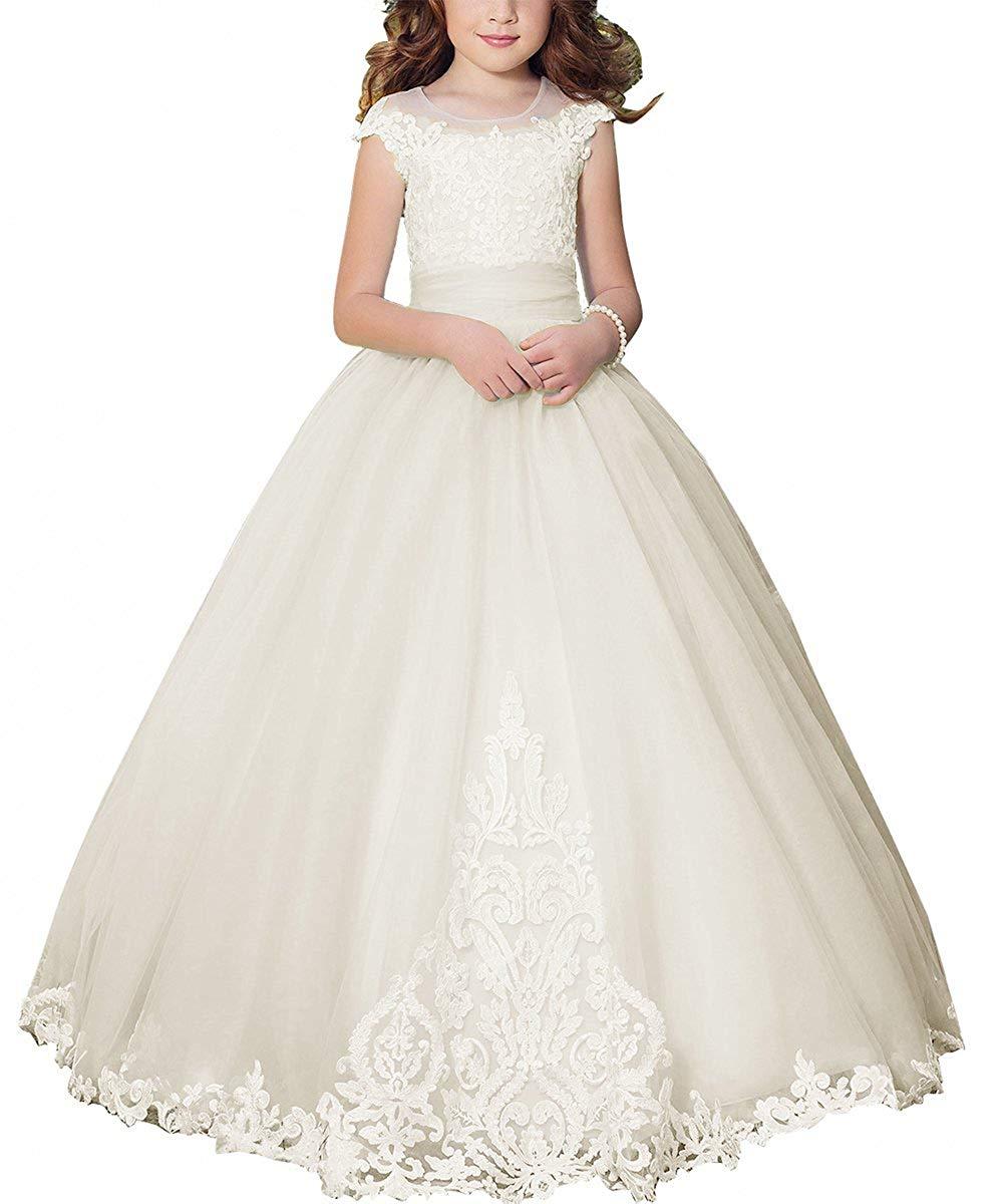 6f13e2a09d7 Get Quotations · PLwedding Fancy Flower Girl Dress Kids Lace Applique  Pageant Ball Gown