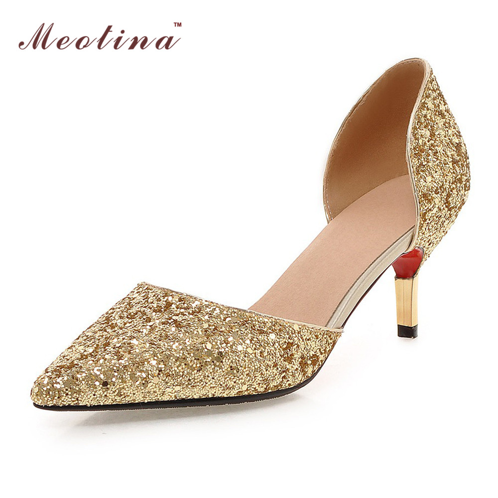 Gold Platform Peep Toe Shoes
