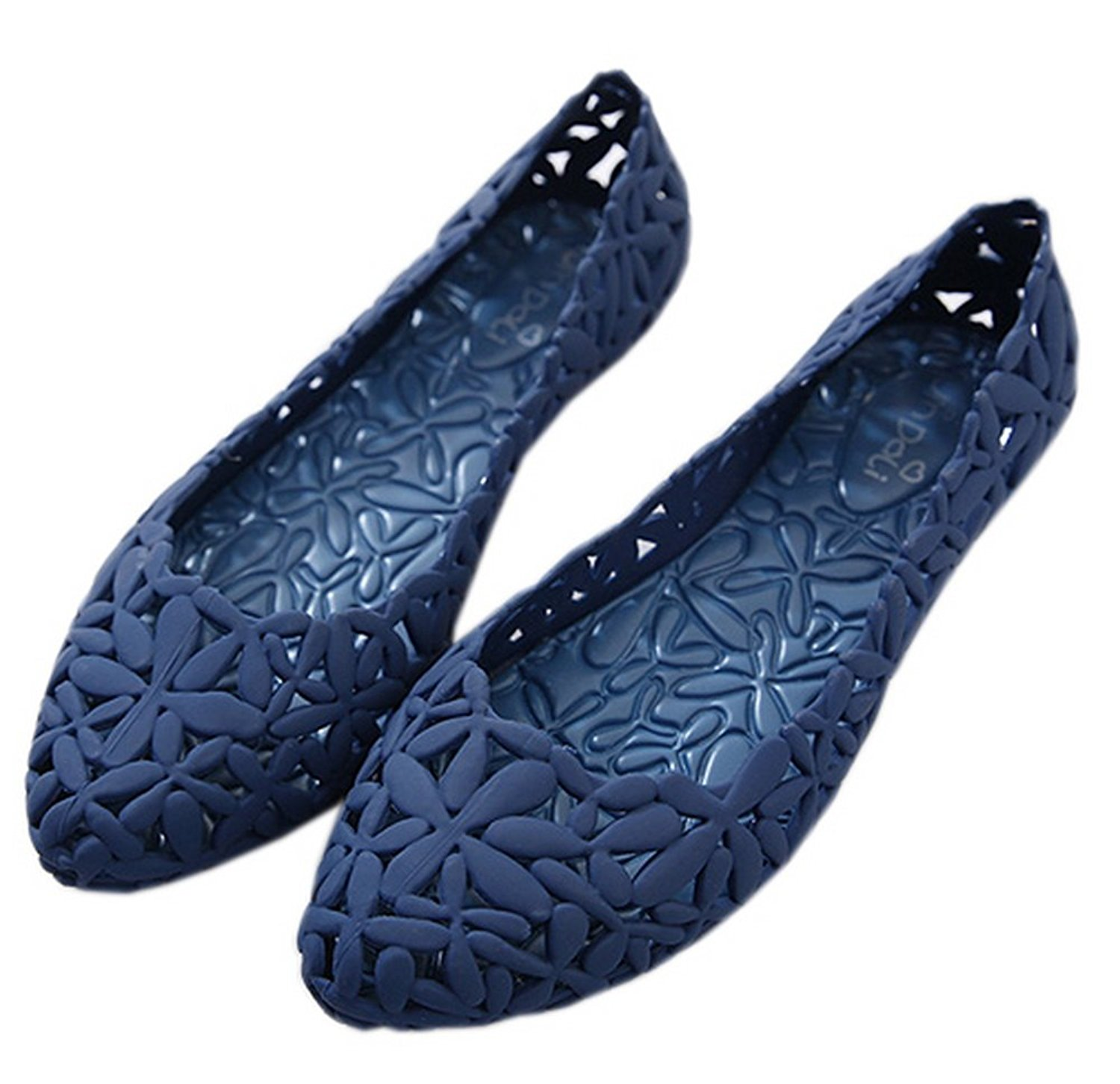 9861511cdb77 Get Quotations · Vokamara Women Flower Hollow Out Pointy Toe Jelly Ballet  Flat