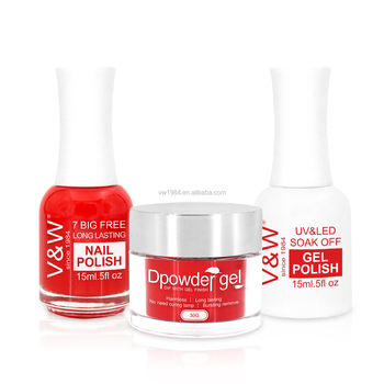 Private Label Professional 3 In 1 Color Nail Gel Match Acrylic Dip Powder And Polish Color Set
