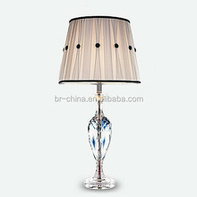 modern crystal table lamp in bule color with good quality fabric shade
