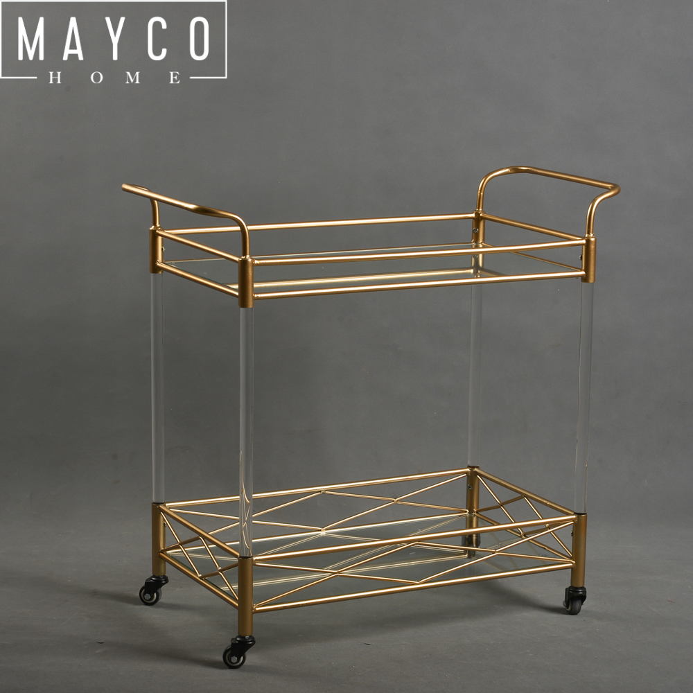 MAYCO Home Bar Furniture Metal Modern Bar Tea Wine Holder Serving Cart With Tempered Clear Glass