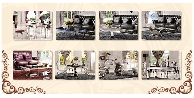De acero inoxidable casa mesa de comedor de mármol artificial top oro/casa de lujo muebles