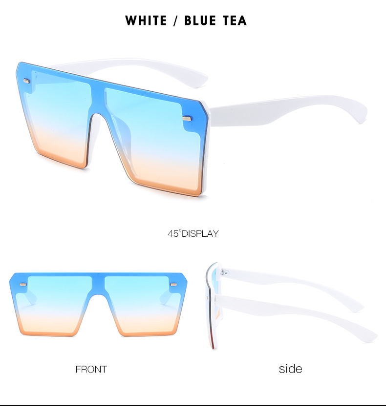 Rimless fashion Latest sunglasses women Oversized Gradient color Womens sunglasses large 2020