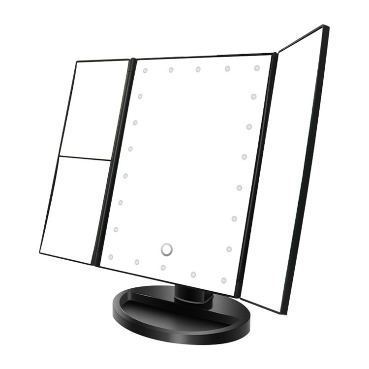 Professional Cosmetic Makeup Illuminated Vanity Mirror 36 LED Tape- Lights Desktop Trifold Mirror Compact Mirror