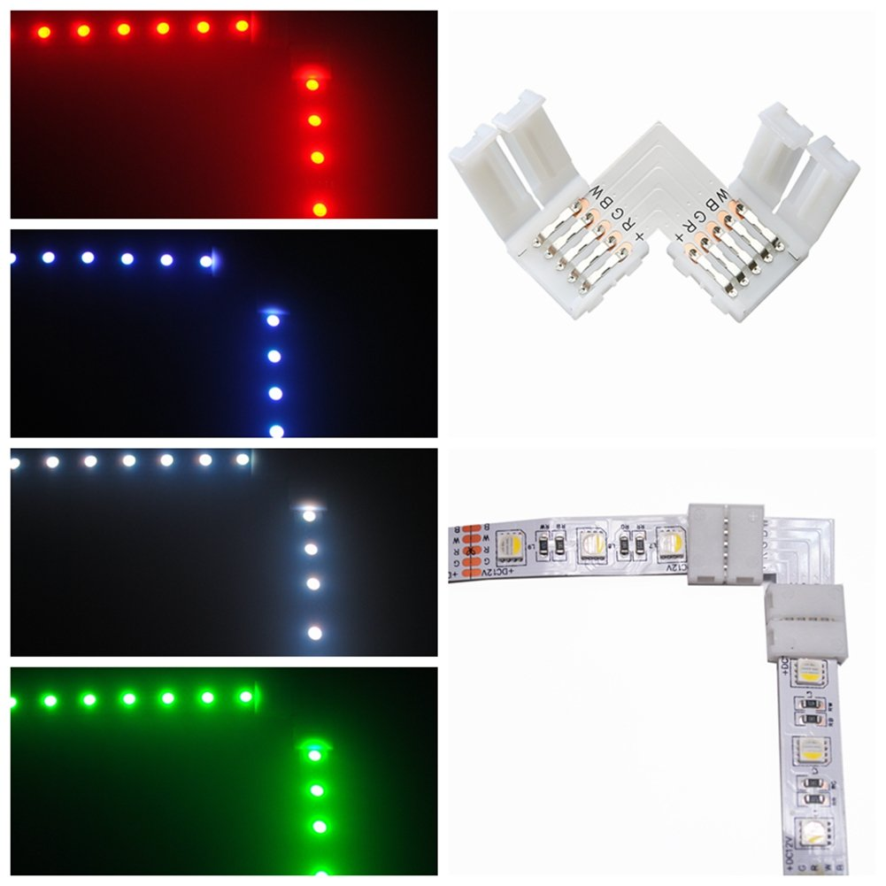 10 Pcs L-Shape 5 Pins Connector RGBW FPC LED Light Strip Connectors 90° Angle Corner Connector With 20 Pack 12mm Strip to Strip Solderless Adapter for SMD 5050 RGBW LED Strip