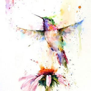 Abstract Bird Watercolor Painting
