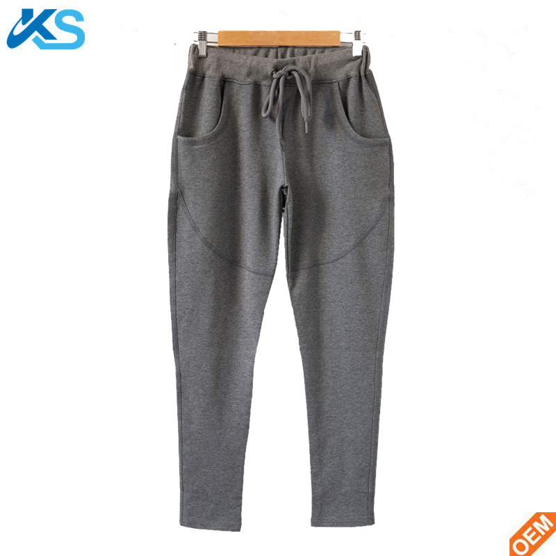 Polyester blend cotton women trousers solid casual Elastic Waist lacing pencil pants