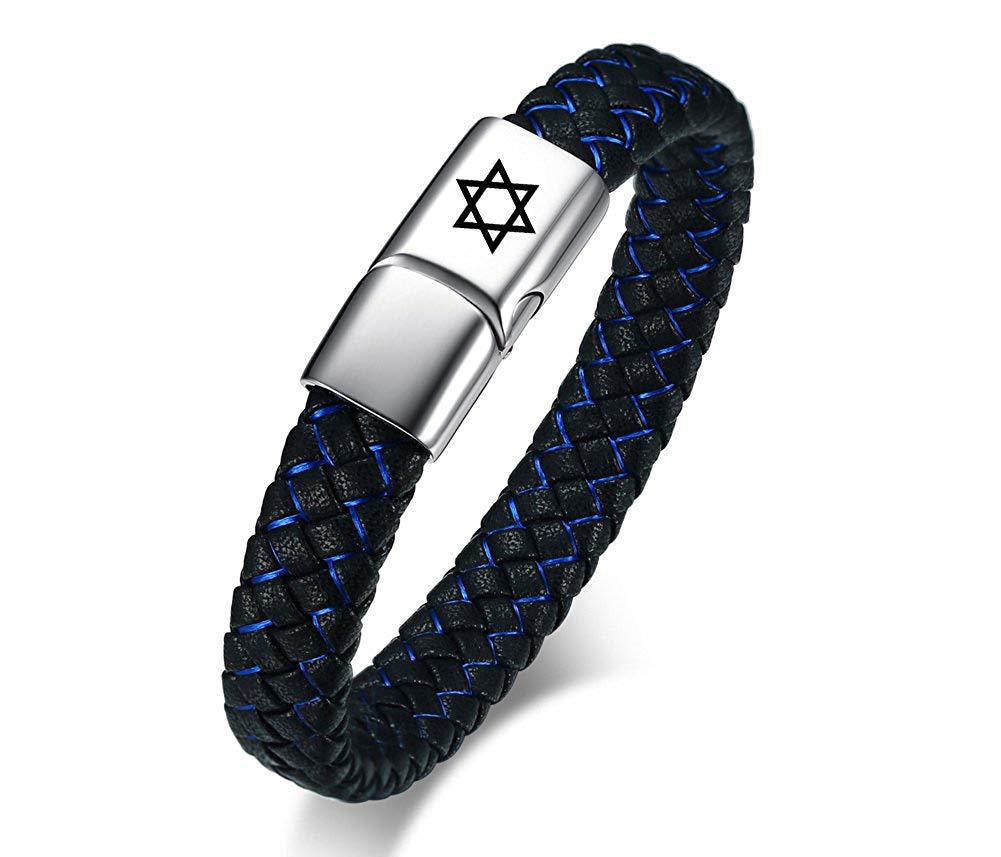 MPRAINBOW Stainless Steel Genuine Braided Leather Black Blue Cuff Bracelet Personalized Magnetic Clasp