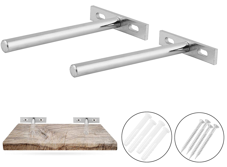Brown 4 inch AddGrace 10 PCS Blind Shelf Supports Invisible Wall Mount Adjustable Hardware Floating Shelf Brackets