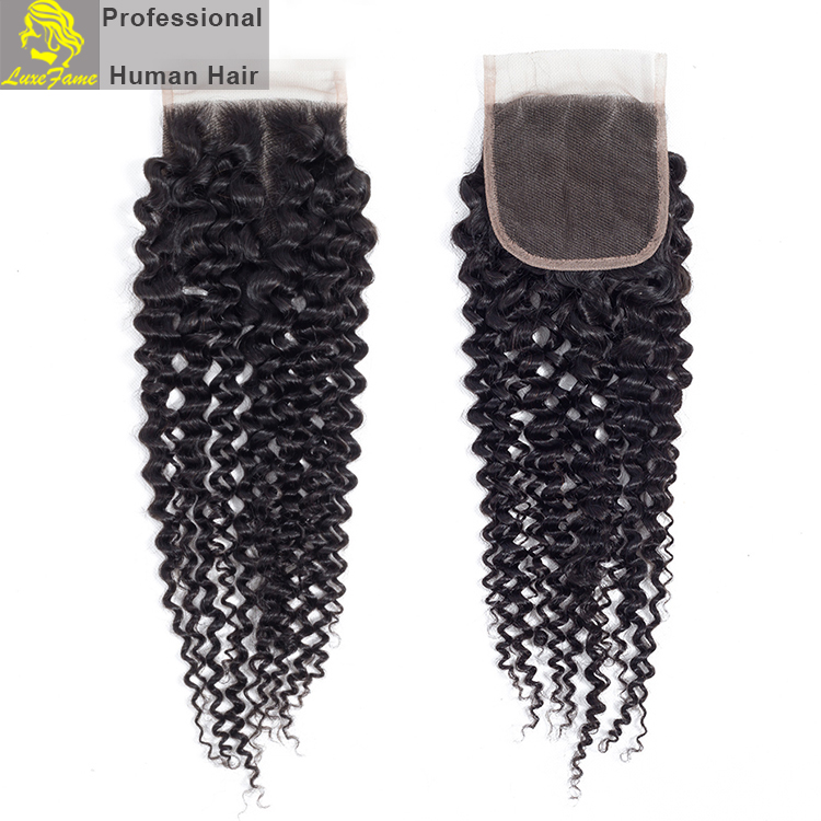 Luxefame Peruvian Hair Closure Kinky Curly Free/Middle/Three Part Natural Color 4x4 Swiss Lace Remy Human Hair Closure