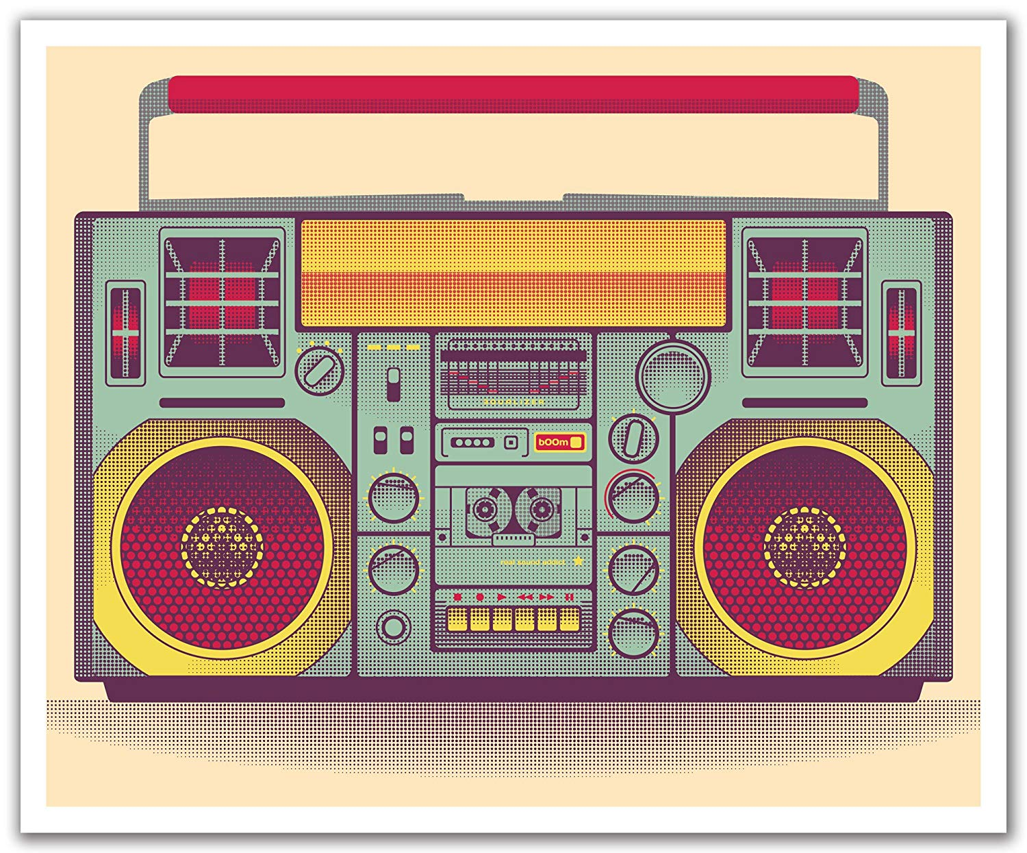JP London Peel and Stick Removable Wall Decal Sticker Mural Retro Ghetto Blaster Breakdance Rap Steampunk 24 by 19.75-Inch