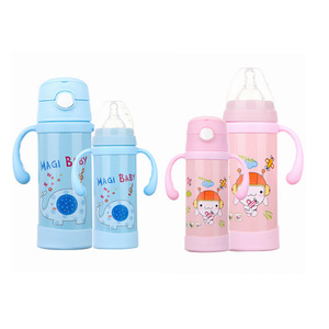 2018 Bottle Feeding Bottle Stainless Steel Thermos cup Child Straw Double-layer Mug Bottle Boxed For kid baby