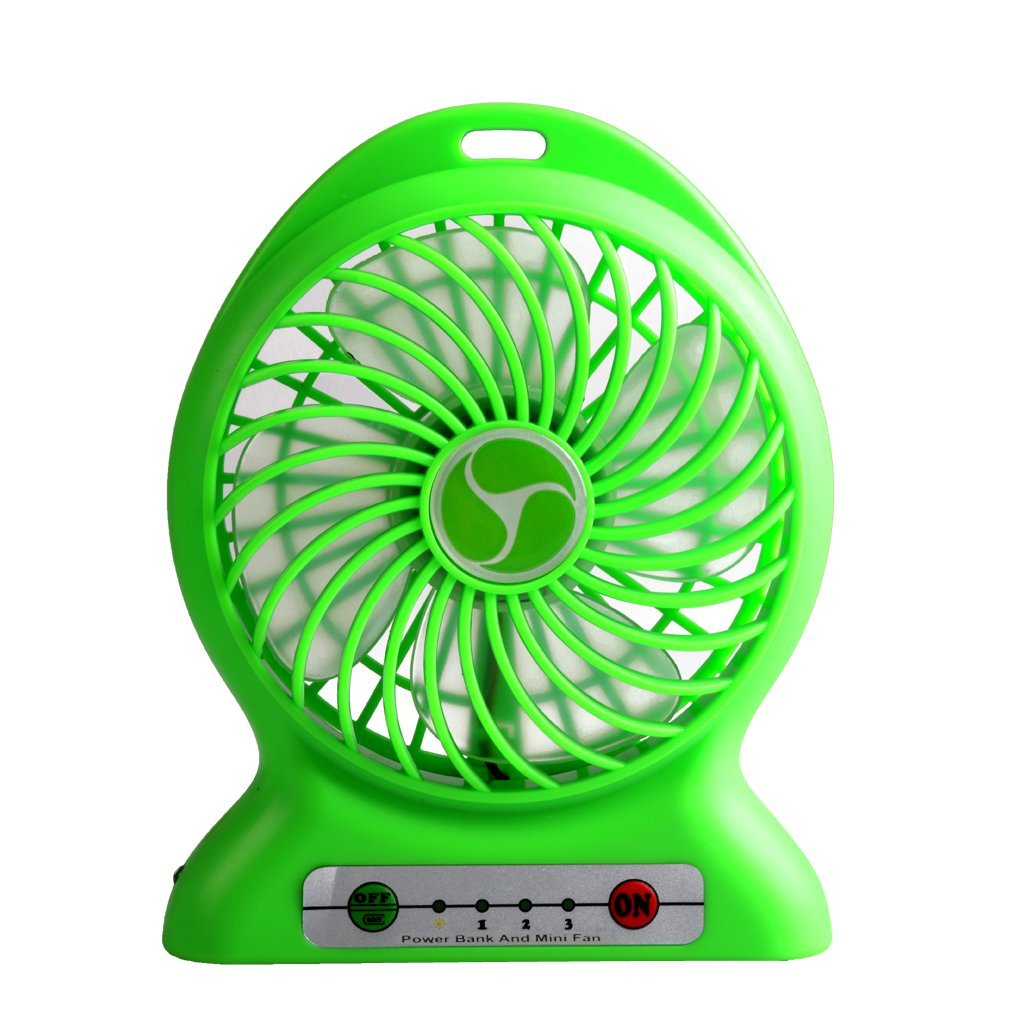 Inoble Handheld Portable Mini Fan [With Led Lamp] Powered By Rechargeable Lithium Battery[Additonal Function As Power Bank] or USB Wire Provided Ideal for Hot Summer Outdoor Travelling,Camping,etc,Also Act as Desktop Fan for Indoor Activities (Green)