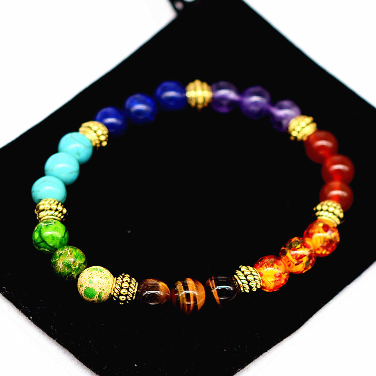 Unisex 7 Chakra Healing Balance Bracelet Lava Gemstone Yoga Reiki Prayer Stones Bracelets фото