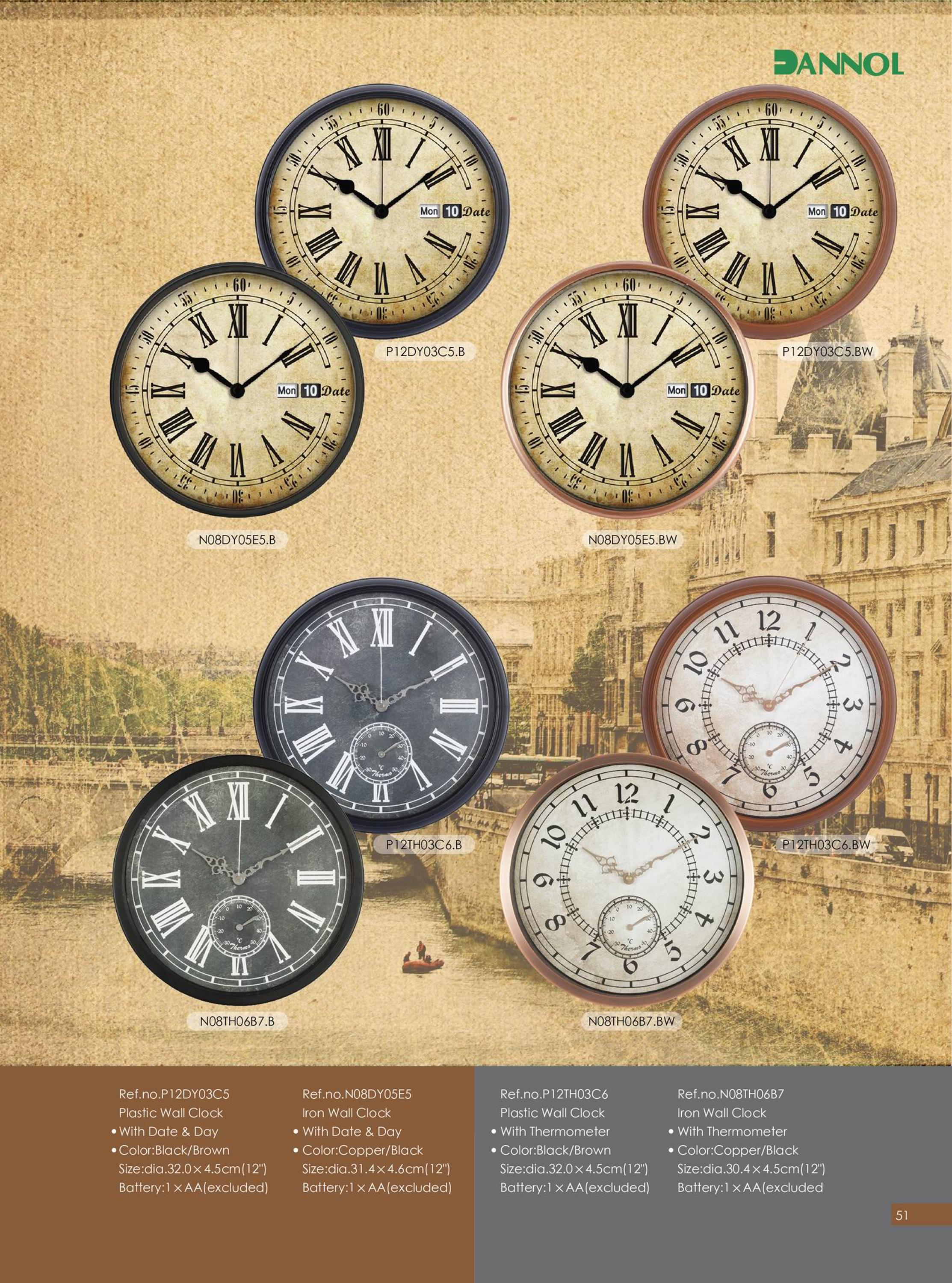 12inch old style young town quartz plastic wall clocks with day 12inch old style young town quartz plastic wall clocks with day and date display amipublicfo Images