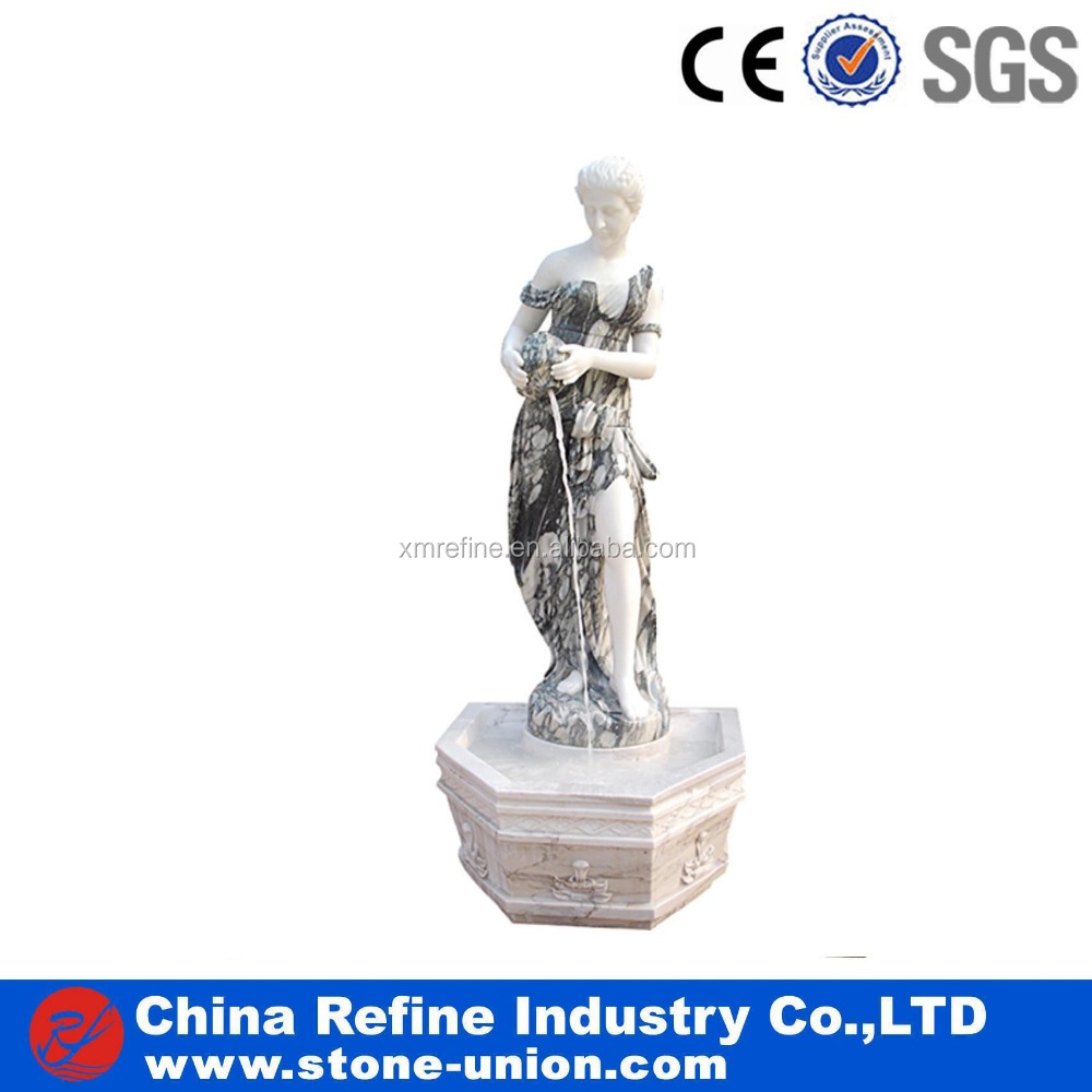 Marble carved lady outdoor water fountain with figure statue