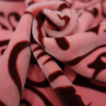 Rotary screen printed Pink four ways super stretch velvet fabric for home textile and garment